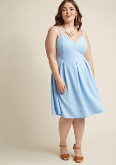 #AdoreWe #ModCloth ModCloth V-Neck Pleated A-Line Dress in Frost in 1X - AdoreWe.com