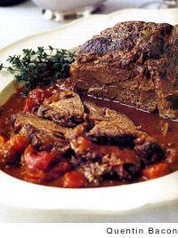 This Barefoot Contessa company pot roast recipe from Ina Garten is chuck roast, carrots, onion, and red wine. Beef Pot Roast, Pot Roast Recipes, Pork Recipes, Cooking Recipes, Beef Welington, Sirloin Recipes, Beef Sirloin, Fondue Recipes, Kabob Recipes