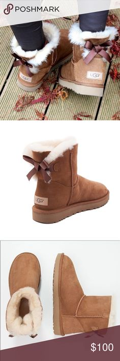 UGG Mini Bailey Bow Water-Resistant Boots A satin bow puts a sweet finish on this iconic silhouette.US-6, EU-37. Now pretreated to protect against moisture and staining, this plush sheepskin boot has been updated to provide increased cushioning, durability, and traction on any surface.Made in Vietnam.Very Good Condition! UGG Shoes Winter & Rain Boots