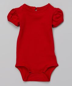 Look what I found on #zulily! Red Puff-Sleeve Bodysuit by Little Miss Basics #zulilyfinds