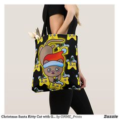 Christmas Santa Kitty Cat with Golden Star Tote Bag #Onmeprints #Zazzle #Zazzlemade #Zazzlestore #Zazzleshop #Zazzlestyle #Christmas #Santa #Kitty #Cat #Golden #Star #Tote #Bag Shopping Bag Design, Shopping Bags, Girls Bags, Kids Girls, Christmas Time, Merry Christmas, Golden Star, Kawaii Cute, Santa