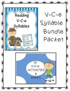 This reading unit provides 55 pages of the V-C-e syllable type word lists. The 71 page unit includes activities and games that can be placed in language stations: 1. Move the Spider to His Web  2. Syllable Type Organizers  3. Connect 4  4. Color the Snail's Shell 5.Graph Your Total  6. Dominoes  7. It's Raining V-C-e Words  8. Burst a Balloon  9.Flower Power  10. V-C-e Booklets 11. Flip-Flop Match-Up 12. A Walk Around the Block 13. Skunk 14. Building Words  15. Snake & Ladders