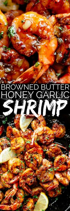 Browned Butter Honey Garlic Shrimp feels like a gourmet shrimp meal, with half of the effort, maximum taste and all in less than 15 minutes! Shrimp Recipes For Dinner, Seafood Dinner, Fish Recipes, Seafood Recipes, Cooking Recipes, Healthy Recipes, Seafood Menu, Recipies, Honey Recipes