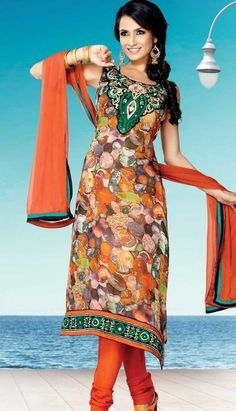 Select the Ethnic Beautiful Mustard Chiffon Churidar Kameez Printed Suit Best For Online Shopping   #Price INR- 4665 Link- http://alturl.com/pzyvs
