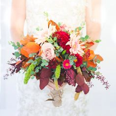 Rich fall colors for this wedding bouquet.  Find more inspiration at sendfresh.ca