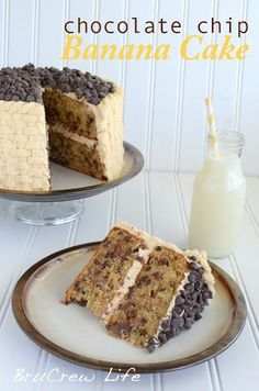 Chocolate chip banana cake with peanut butter frosting. Yes please!