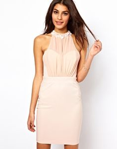 Lipsy Bodycon Dress with Embellished Collar - asos - bridesmaid? Asos Bridesmaid, Blush Bridesmaid Dresses, Blush Dresses, Pretty Dresses, Flower Girl Dresses, Bridesmaids, Flower Girls, Beautiful Dresses, Girls Dresses