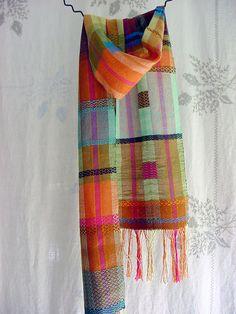 handwoven,  rosepath inlay. silk, perle cotton, asymmetrical design