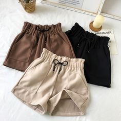 Women Shorts Autumn and Winter High Waist Solid Casual Loose Thick Warm Elastic Straight Booty Shorts With Pockets Shorts Outfits Women, Outfits Casual, Mode Outfits, Short Outfits, Summer Outfits, Summer Shorts, Grunge Outfits, Short Dresses, Fashion Pants