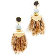 Lizzie Fortunato African Feather Earrings ($210) ❤ liked on Polyvore featuring jewelry, earrings, beaded jewelry, feather earrings, earring jewelry, african jewellery and beading jewelry