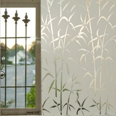 It seems that everyone loves bamboo patterns and that makes this a quite popular design. This Brewster static cling film works great for windows, glass doors, and mirrors but not the best film for bat Glass Film Design, Window Glass Design, Frosted Glass Design, Window Privacy, Privacy Glass, Window Screens, Window Coverings, Window Treatments, Kitchen Door Designs