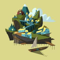 Illustrations by Nick Bear. http://www.thefoxisblack.com/2014/04/08/fantastic-illustrations-of-places-by-nick-bear/
