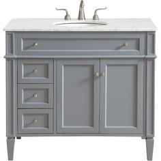 """Park Avenue Single Bathroom Vanity Set in Grey - Elegant Lighting classic, contemporary marble top vanity console from our """"Park Avenue"""" collection is roomy enough to keep all your bath essentials close at hand. Fitted with a spacious It 40 Inch Bathroom Vanity, Office Bathroom, Bathroom Vanity Cabinets, Vanity Sink, Bathroom Ideas, Painted Gray Cabinets, Grey Cabinets, Marble Vanity Tops, Marble Top"""