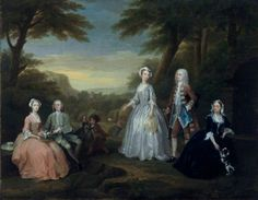 The Jones Family Conversation Piece, par William Hogarth, 1730 (Amgueddfa Cymru – National Museum Wales - Cardiff, Angleterre) William Hogarth, Marcel Proust, Family Painting, Large Painting, King Charles Spaniel, Cavalier King Charles, Baroque Painting, Jones Family, English Artists