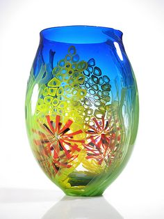 Blue Sea Scape Vase: David Leppla: Art Glass Vase - Artful Home