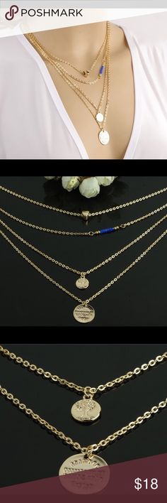 Multilayered Gold Plated Necklace with Charms Multilayered Gold Plated Chain with Heart charm, Blue Beads, Tree of life and another round charm. Materials: Gold Plated Alloy♦️Measurements from shortest-longest: 16 inches/17 inches/20 inches/ 22 inches.                         Brand New Jewelry Necklaces