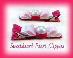 Valentine Hair Clips Pink and White by SpoiledLittleDiva on Etsy, $4.50