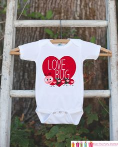 Kids Valentines Day Outfit - Love Bug Valentines Onepiece - Novelty Valentine Shirt for Baby Girls or Boys - Kids Valentines Day Outfit