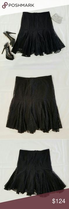 """🆕 Ralph Lauren Black Lace Dress Skirt NWT Beautiful lace skirt by Ralph Lauren. NWT condition. Zipper and hook closures. Skirt is pleated at the bottom for extra flare!   Size 10.   Measures approximately:  Waist- 17"""" flat across  24"""" to 25"""" L Lauren Ralph Lauren Skirts"""