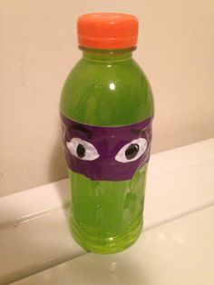 T is for Turtle Juice. Teenage Mutant Ninja Turtle juice for class snack. This week's letter is T.