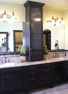 vanity with tower cabinet | Bathroom Vanities with Tower Storage