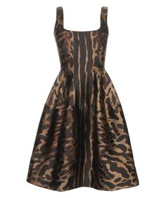 OCELOT SILK JACQUARD COCKTAIL DRESS, just what I need. From Alexander McQueen at a mere $4,970