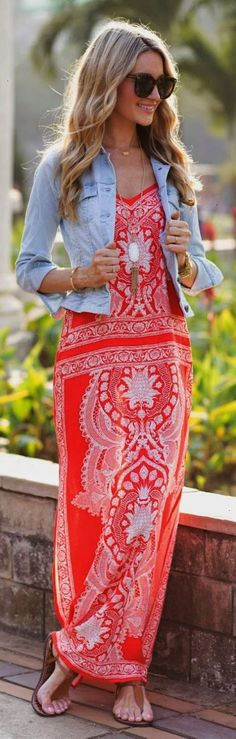Maxi Indian print sleeveless dress with denim bolero cut jacket and some great accessories.