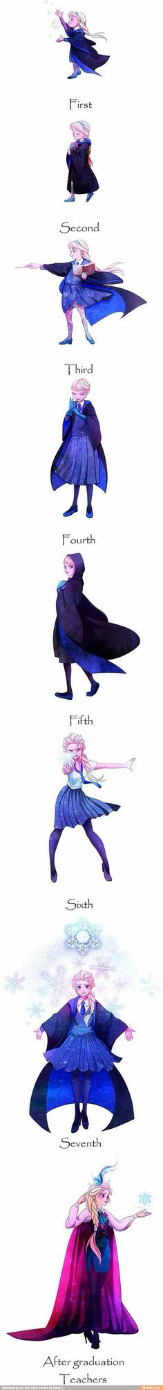 Elsa at Hogwarts! I ADORE THIS! By the way whoever did these can you make one of Jack Frost at Hogwarts? Disney Pixar, Walt Disney, Disney Memes, Disney And Dreamworks, Disney Magic, Disney Frozen, Disney Art, Disney Characters, Funny Disney