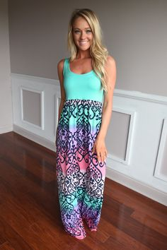 This gorgeous maxi is a crazy combo of color. 95% Poly 5% Spandex Product Sizing Chart Size Bust Hip Length Waist Small 32 N/A 58 N/A Medium 34 N/A 58 N/A Large 38 N/A 59 N/A XL 40 N/A 59 N/A Model St
