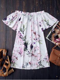 $13.49 Off The Shoulder Flower Vintage Dress - WHITE S