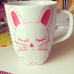 #mug #porcelaine #lapin #bunny #kawaii #mignon #mignonnerie #diy #edding #customisation #rose #blanc #dessin #draw #drawing #illustration #sketch