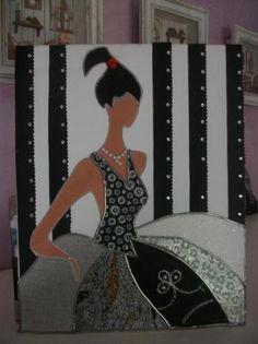 menina moderna (fondo negro-blanco)  lienzo,papel decoupage,pintura a mano