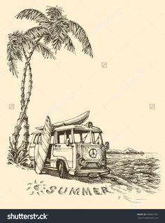 Surf van on the beach vector sketch Source by daiquira sketch Van Drawing, Surf Drawing, Beach Drawing, Painting & Drawing, Cool Art Drawings, Pencil Art Drawings, Art Drawings Sketches, Deco Surf, Beach Sketches