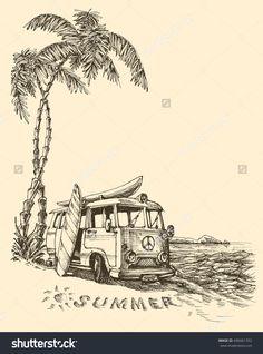 Surf van on the beach vector sketch Source by daiquira sketch Van Drawing, Surf Drawing, Beach Drawing, Cool Art Drawings, Art Drawings Sketches, Vans Surf, Beach Sketches, Elephant Sketch, Pen Art