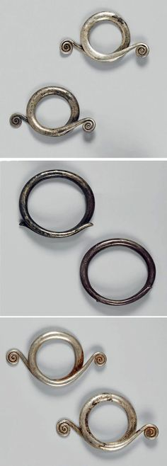 Vietnam | Set of three silver and iron earrings from the Cham people.  L:  3,7 cm - 4,3 cm 0 5,7 cm | Est. 1800 - 2000€ ~ (Dec '14)
