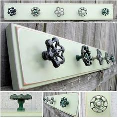 to Ship / Coat Rack with Green Valve Handle Hooks / Pale Green Salvaged Board with Five ( 5 ) Garden Faucet Hooks Perchero con balvulasPerchero con balvulas