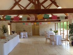 Colourful Bunting in the Reception @ Kingscote Barn