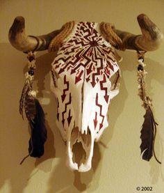 Painted Steer Skull