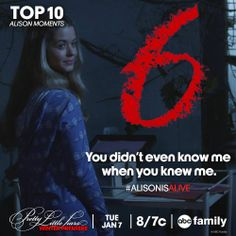 Here's #6 of the Top 10 Alison Moments! Don't miss the #PLL Winter Premiere on Tuesday, Jan 7 at 8pm/7c only on ABC Family. #AlisonIsAlive