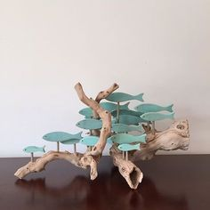 Driftwood art - A school of fish on a very different piece of driftwood driftwoodart gift fishart