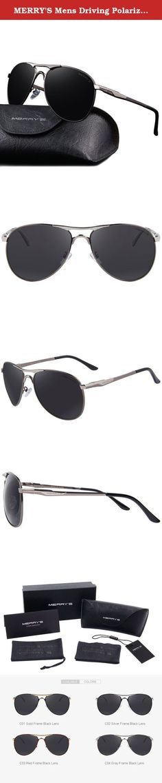 4027097b577 MERRY S Mens Driving Polarized Sunglasses Coating Lens Driving Shades  Classic Brand Sun glasses S8712 (Silver Gray