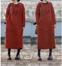 Women casual loose 100% linen spring and fall long maxi dress - Buykud- 1