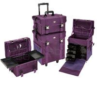 It's purple!!  2 in 1 Purple Fabric Rolling Makeup Case Set with Drawers