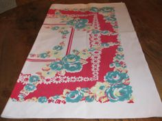 Pineapple House Antiques ~ Vintage red and turquoise floral tablecloth!
