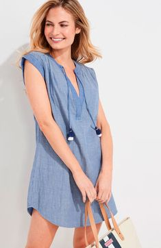 Shop womens dress at vineyard vines Classic Outfits, Trendy Outfits, Trendy Clothing, Preppy Dresses, Trendy Tops, Smocking, Tunic, Vineyard Vines, Clothes For Women