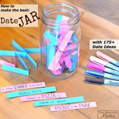 Date Jar - put date ideas in a jar and randomly pull them out. Keep a simple scrapbook with pictures and items from each date!