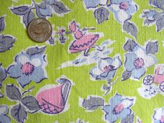 Vintage Full Cotton Feedsack Fabric // Lime Green by anne8865