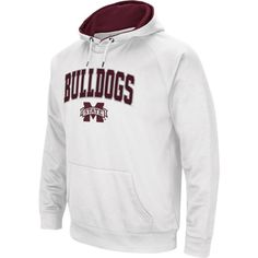 Colosseum Men's Mississippi State Bulldogs White Performance Hoodie, Size: Large, Team