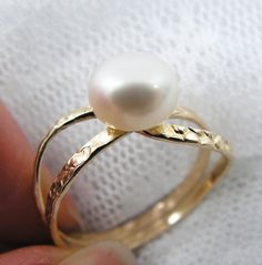 Shop for on Etsy, the place to express your creativity through the buying and selling of handmade and vintage goods. Gold Pearl Ring, Gold Diamond Rings, Gold Rings, I Love Gold, Beaded Jewelry, Unique Jewelry, Mom Birthday Gift, Ring Designs, Gifts For Mom