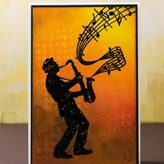Visible Image stamps - Jazz it Up - Silhouette Sax player stamp - Elina Stromberg Musical Cards, Tonic Cards, Music Teacher Gifts, Musician Gifts, Image Stamp, Cool Cards, Men's Cards, Birthday Cards For Men, Card Making Inspiration